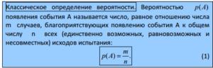 Классическая формула определения вероятности